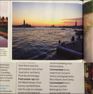 Rhys' photo in the Sunday Times Travel Magazine